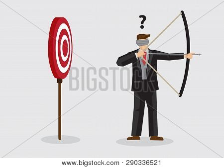 Businessman Trying To Shoot Target With Blindfold. Vector Illustration On Concept Of Trying To Achie