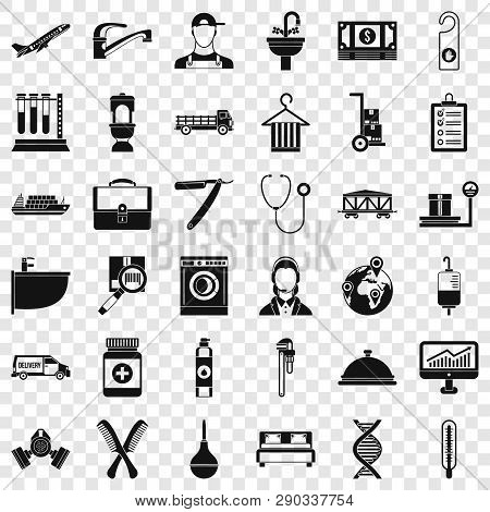 Occupation Icons Set. Simple Style Of 36 Occupation Vector Icons For Web For Any Design