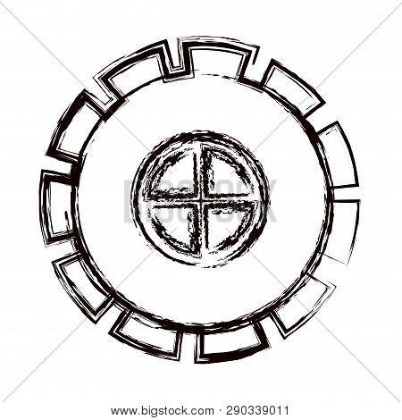 Blurred Thick Contour Gear Wheel Pinion Icon Vector Illustration