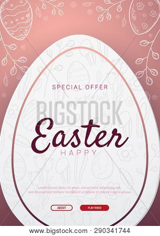 Happy Easter Background With Traditional Sketches Decorations. Easter Greeting With Colored Eggs, Ra