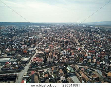 Aerial Shot Of Targu Mures Old City At Daylight