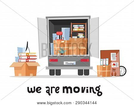 Open Trunk Of The Truck Woth Stack Af Office Things In Cardboard Boxes.corporate Moving.unloading Or
