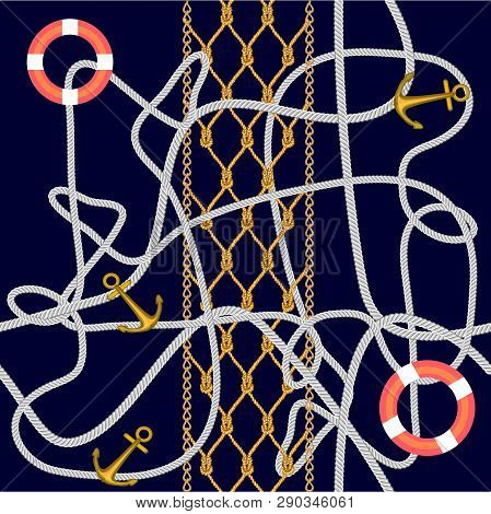 Jute Ropes, Anchors And Lifebuoys On Dark Blue Background. Marine Textile Collection.