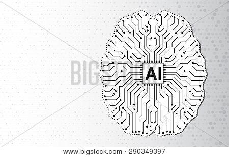 Artificial Intelligence, Virtual Emulation, Science Technology. Neural Network. Digital Brain Circui