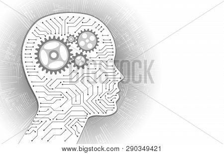 Technology Background With Circuit Board And Mechanism Inside The Head Silhouette. Virtual Engineeri