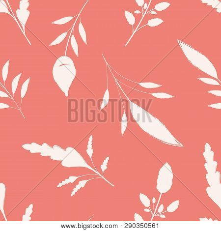 Hand Drawn White Brush Stroke Leaves On Coral Pink Background. Seamless Vector Pattern With A Calm S