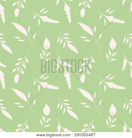Hand Drawn White Brush Stroke Leaves On Green Background. Seamless Vector Pattern With A Soothing Vi