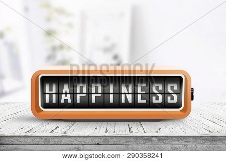 Happiness Message On A Retro Alarm Clock In A Bright Room With Flowers