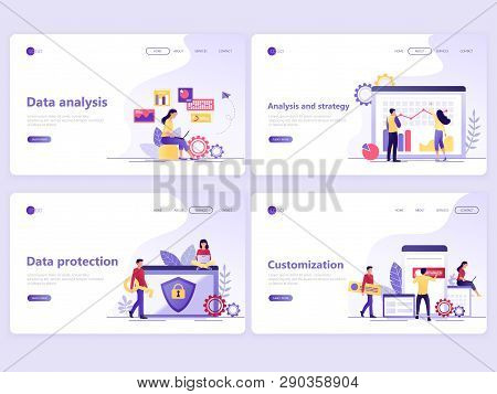 Set Of Landing Page Templates. Data Analysis, Strategy, Protection, Customization. Flat Vector Illus
