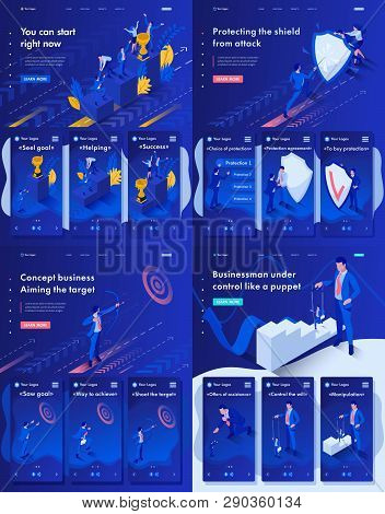Set Landing Page, App Isometric Control A Puppet, Protection The Shield, Aiming The Target, You Can