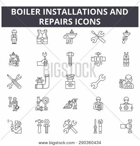 Boiler Installations And Repairs Line Icons For Web And Mobile Design. Editable Stroke Signs. Boiler