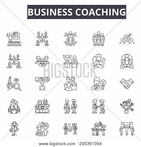 Business Coaching Line Icons For Web And Mobile Design. Editable Stroke Signs. Business Coaching  Ou
