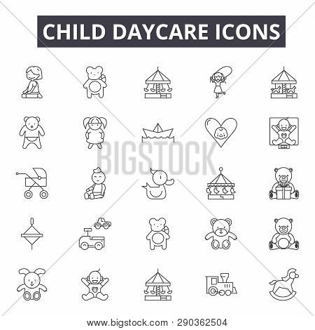 Child Daycare Line Icons For Web And Mobile Design. Editable Stroke Signs. Child Daycare  Outline Co