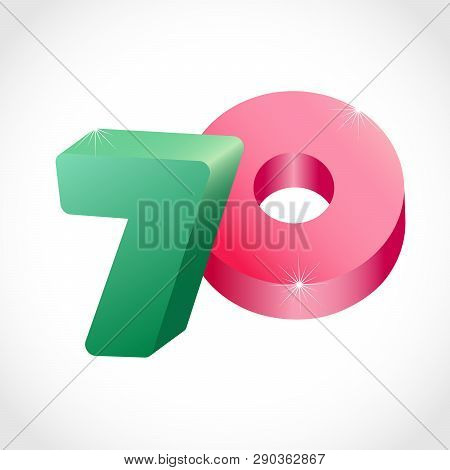 70 Th Years Old Congrats. Isolated Abstract Colored Graphic Design Template. Up To -70 % Logotype. R