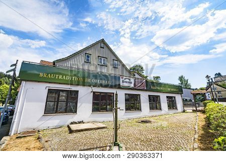 Altenau, Germany - August 12 - 2018: Altenaur Beer Brewery In The Summer Under A Blue Sky