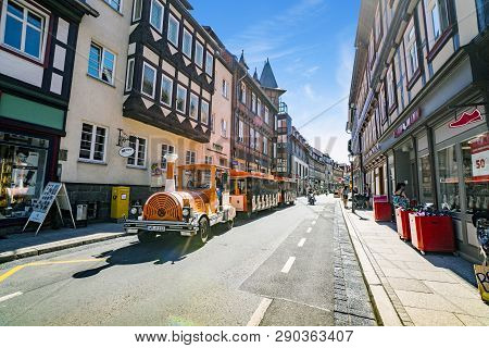 Wernigerode, Germany - August 12 - 2018: Train Driving In The Streets Of Wernigerode With Tourists I