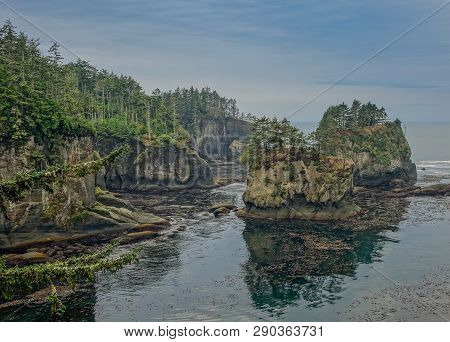Cape Flattery In Neah Bay, Washington, Usa - October 8, 2015: Panoramic Of Cape Flattery, View Of Th