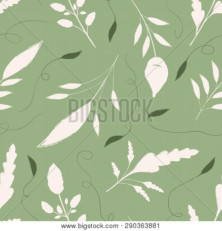 Hand Drawn Cream And Green Leaves With Ornamental Swirls. Seamless Vector Pattern On Warm Green Back