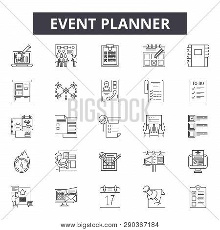 Event Planner Line Icons For Web And Mobile Design. Editable Stroke Signs. Event Planner  Outline Co