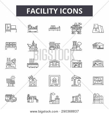 Facility line icons for web and mobile design. Editable stroke signs. Facility  outline concept illustrations poster