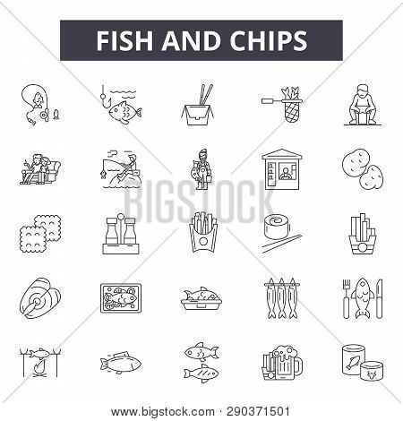Fish And Chips Line Icons For Web And Mobile Design. Editable Stroke Signs. Fish And Chips  Outline