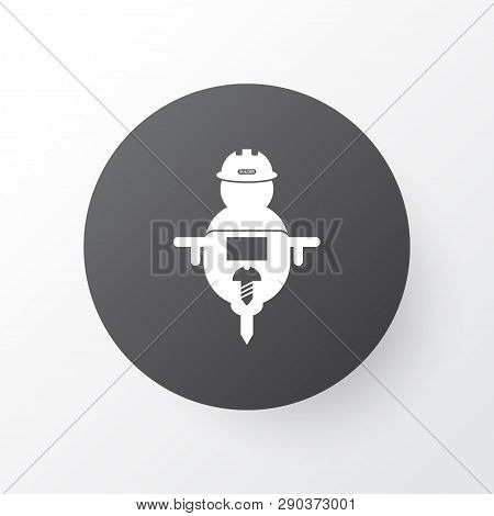 Man with drill icon symbol. Premium quality isolated workman element in trendy style. poster