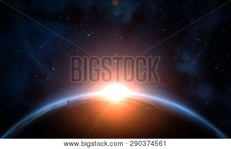 Earth, Galaxy, Nebula And Sun. Sunrise, View Of Earth From Space. Elements Of This Image Furnished B