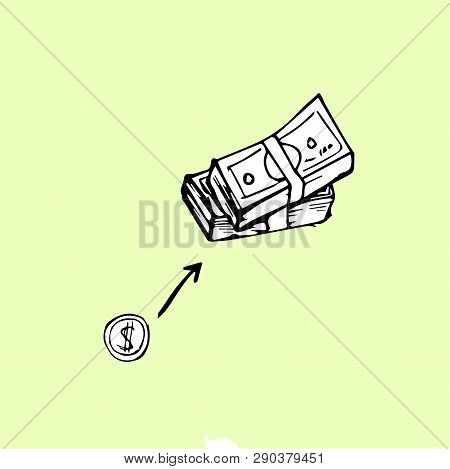 Money Growth Chart, A Coin Turns Into A Wad Of Money, Vector Illustration