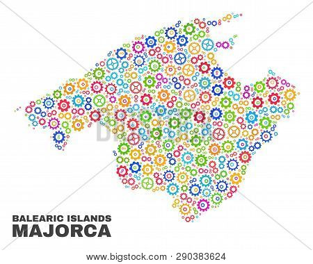 Mosaic Technical Majorca Map Isolated On A White Background. Vector Geographic Abstraction In Differ