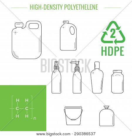 Pehd (hdpe) - High-density Polyethylene. Symbol Of Plastic Recycling And Types Of Plastic Products.