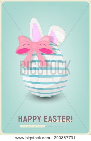 Happy Easter Greeting Retro Card - Cartoon Easter Rabbit Bunny Ears, Egg And Bow On Blue Background.