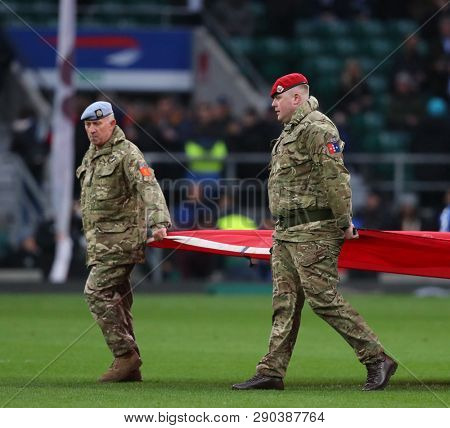 LONDON, ENGLAND - MARCH 16 2019: Royal Military Police during the Guinness Six Nations match between England and Scotland at Twickenham Stadium.