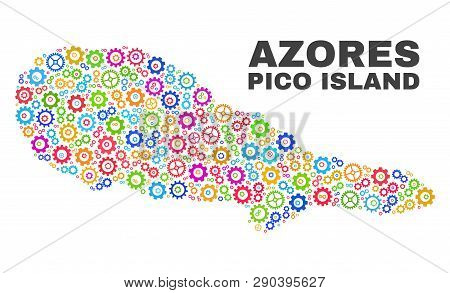 Mosaic Technical Pico Island Map Isolated On A White Background. Vector Geographic Abstraction In Di