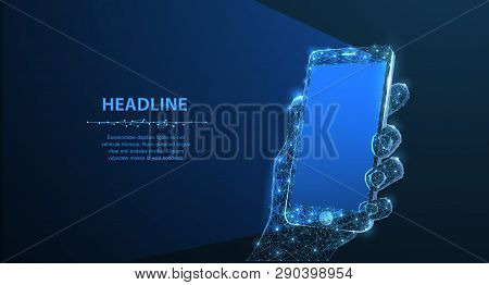 Mobile Phone. Abstract Polygonal Wireframe Closeup Mobile Phone With Blank Empty Screen In Holding M