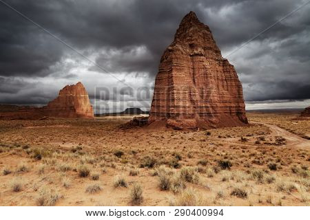 Temple of the Moon in Cathedral Valley, Capitol Reef National Park, Utah, USA
