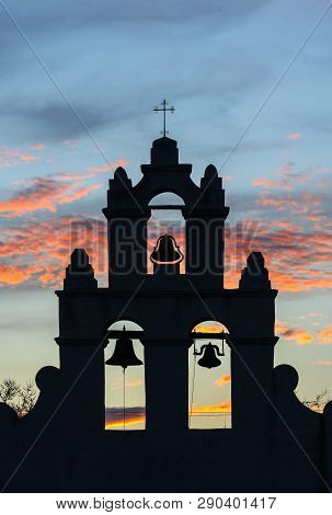 Sunset At Mission Sanjuan Capistrano In San Antonio, Texas