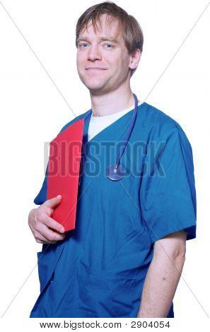 Handsome Doctor Holding Folder
