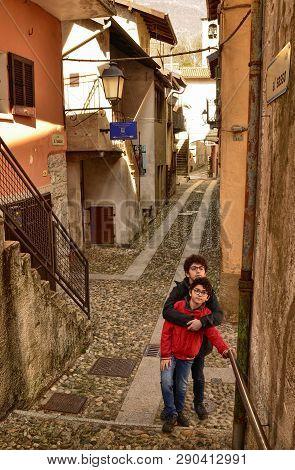 Mergozzo, Piedmont, Italy. March 2019, Old Town