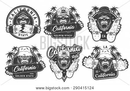 Vintage Monochrome Summer Skateboarding Labels With Angry Ferocious Gorilla Heads In Beanie Panama H