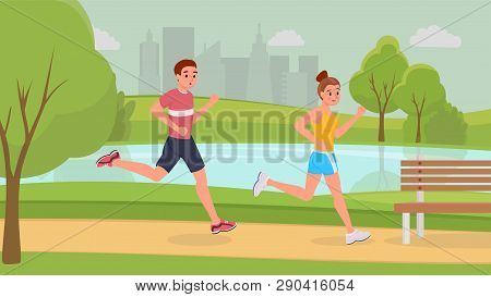 Lovely smiling sports couple on morning running in park stronger vector illustration. Man and woman in light sportswear and sneakers to get in shape. Become healthier and. Urban landscape poster