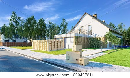 Many moving boxes when moving in front of a new house with garden (3d Rendering)