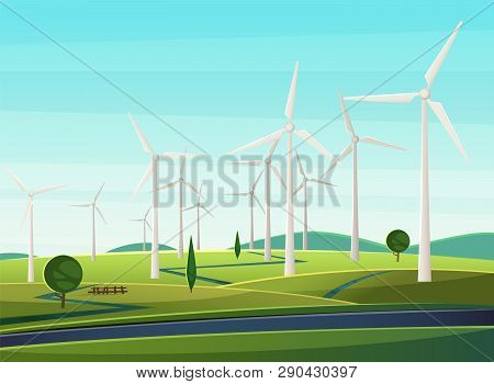 Rural Narure With Windmills, Wind Turbines, Field, Trees. Summer Landscape With Windmills As Symbol