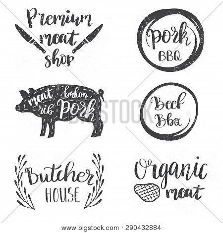 Vintage Style Set Of Retro Badges, Labels, Logo Design Templates For Meat Store, Charcuterie, Deli S