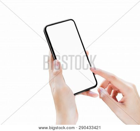 Hand Holding Smartphone Blank Screen On Isolated. Take Your Screen To Put On Advertising.