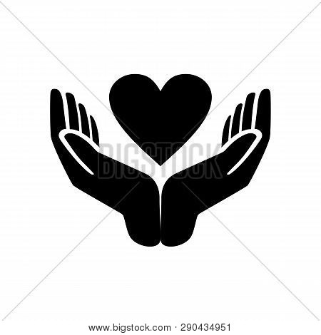 Hands Holding Heart Icon. Simple Illustration Of Hands Holding Heart Icon For Web Design. Flat Vecto