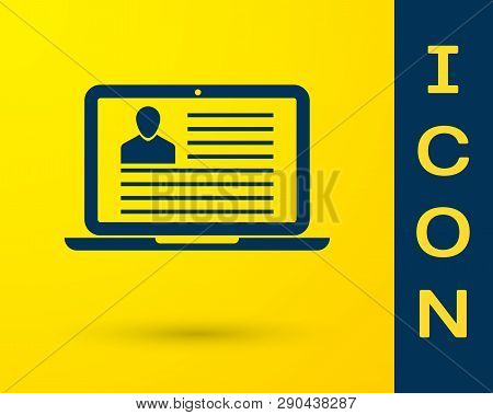 Blue Laptop With Resume Icon Isolated On Yellow Background. Cv Application. Searching Professional S