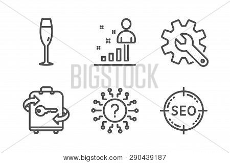 Stats, Champagne glass and Customisation icons simple set. Question mark, Luggage and Seo signs. Business analysis, Winery. Line stats icon. Editable stroke. Vector poster