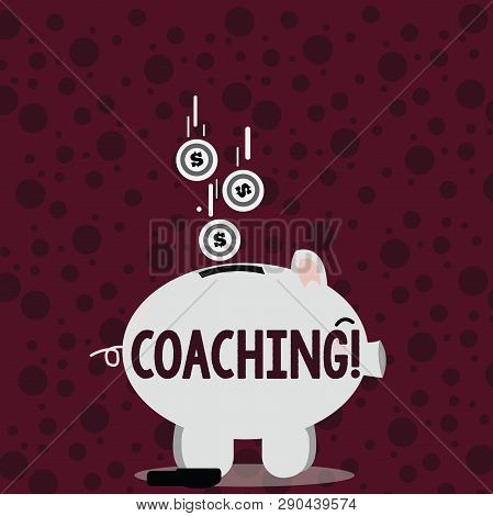Writing note showing Coaching. Business photo showcasing Prepare Enlightened Cultivate Sharpening Encourage Strenghten Piggy Bank Sideview and Dollar Coins Falling Down to Slit. poster