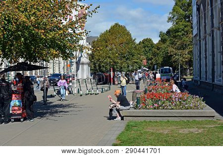 Christchurch, New Zealand - March 19, 2019; People Gather In Rolleston Avenue To View Floral Tribute