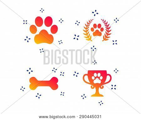 Pets Icons. Dog Paw Sign. Winner Laurel Wreath And Cup Symbol. Pets Food. Random Dynamic Shapes. Gra